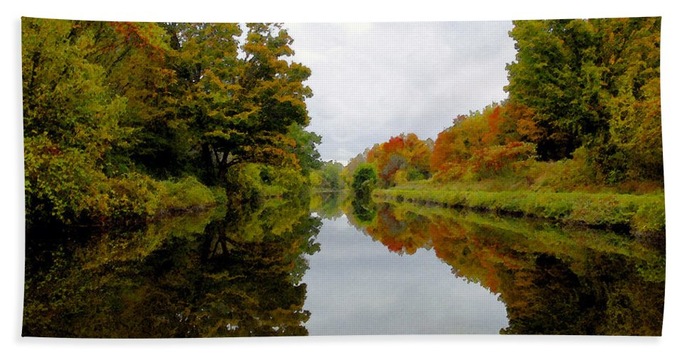 Eire Canal New York Bath Sheet featuring the painting Autumn On The Erie Canal by David Lee Thompson