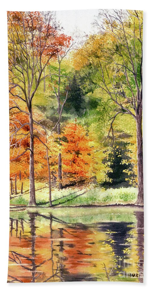 Autumn Hand Towel featuring the painting Autumn Oranges by Mary Tuomi