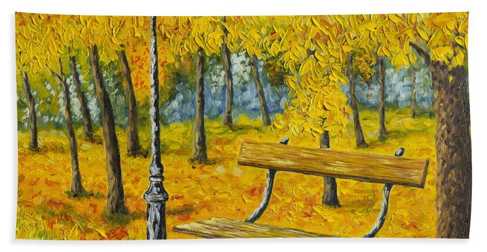 Art Bath Sheet featuring the painting Autumn Park by Veikko Suikkanen