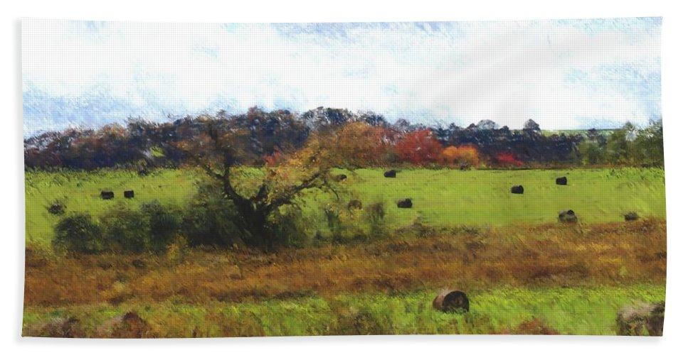 Digital Photograph Hand Towel featuring the photograph Autumn Pasture by David Lane