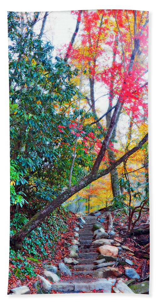Smokey Mountain Bath Sheet featuring the photograph Autumn Pathway by Brittany Horton
