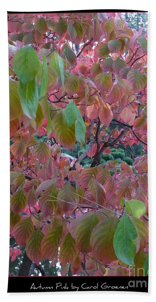 Fall Hand Towel featuring the photograph Autumn Pink Poster by Carol Groenen