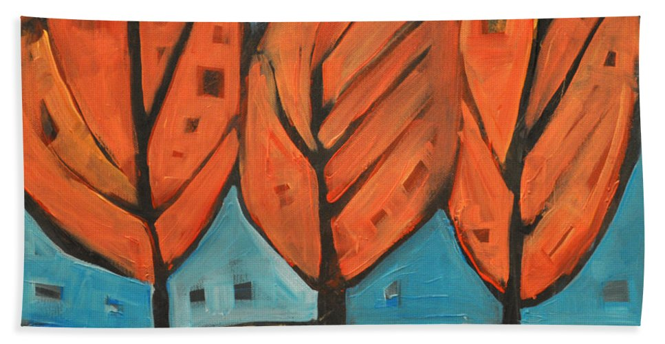 Trees Bath Sheet featuring the painting Autumn Quilt by Tim Nyberg