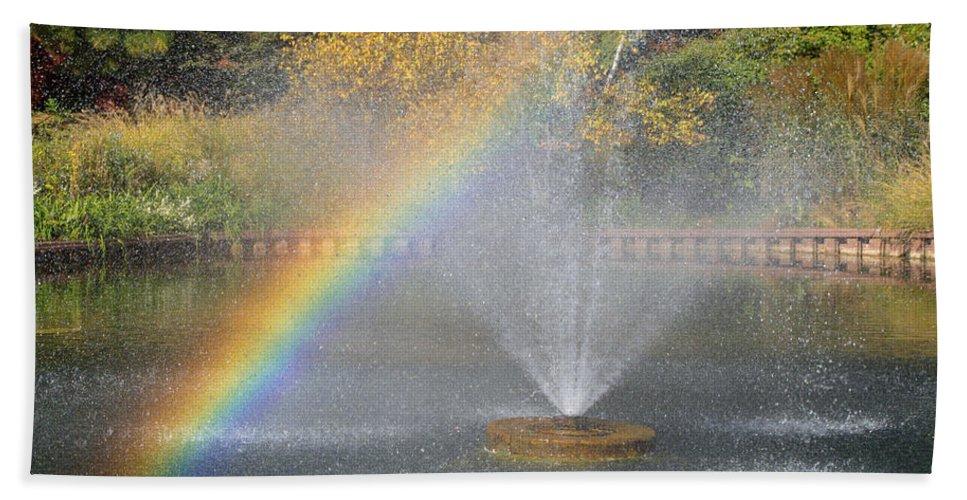 Chicagoland Hand Towel featuring the photograph Autumn Rainbow by Ann Horn