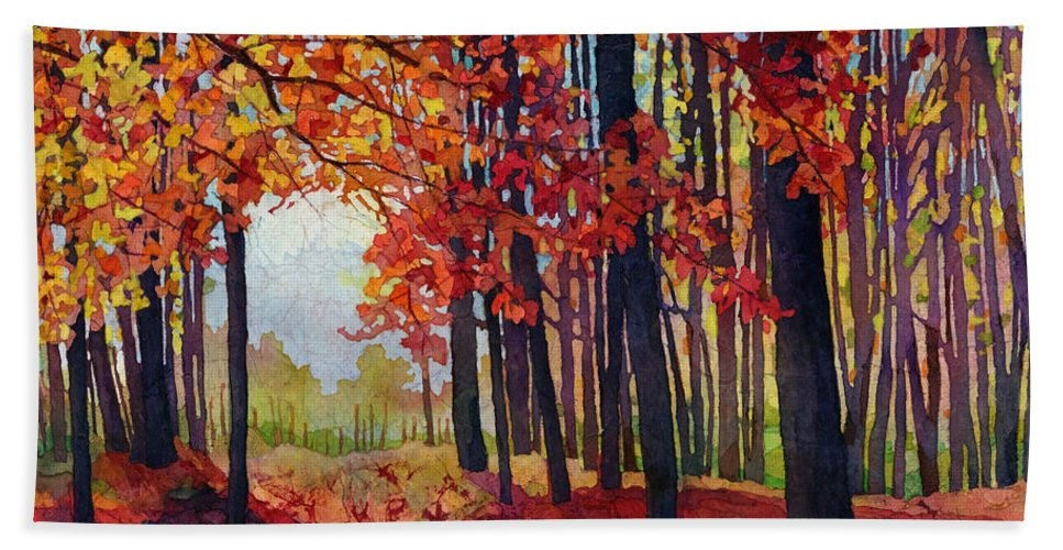 Path Bath Towel featuring the painting Autumn Rapture by Hailey E Herrera