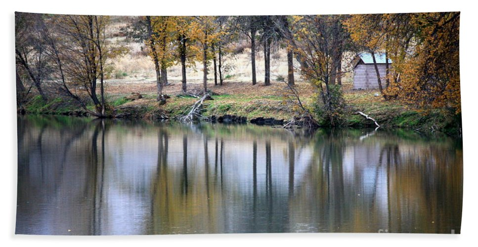 Fall Reflection Bath Sheet featuring the photograph Autumn Reflection 16 by Carol Groenen