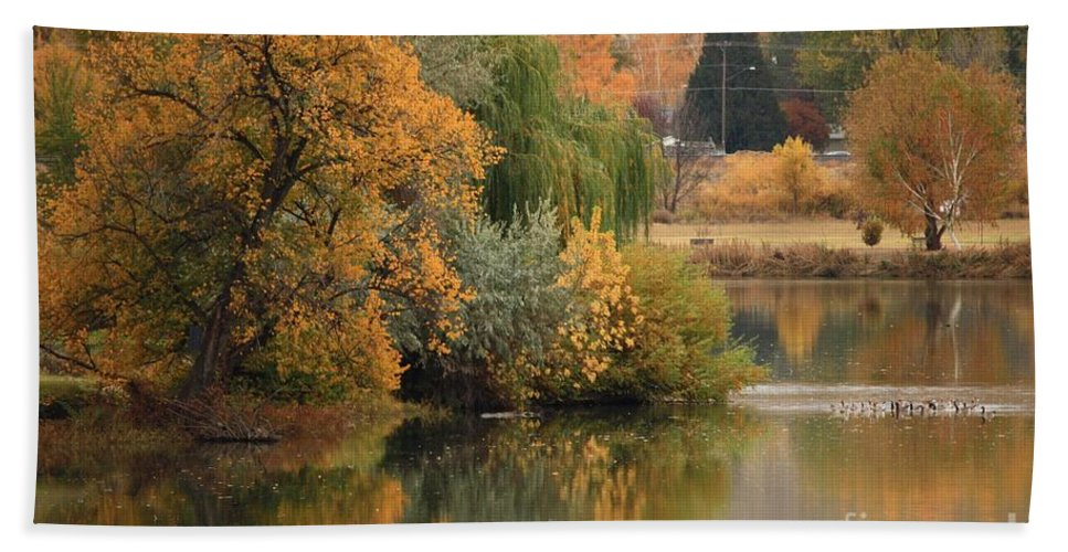 Autumn Bath Sheet featuring the photograph Autumn Reflection 41 by Carol Groenen