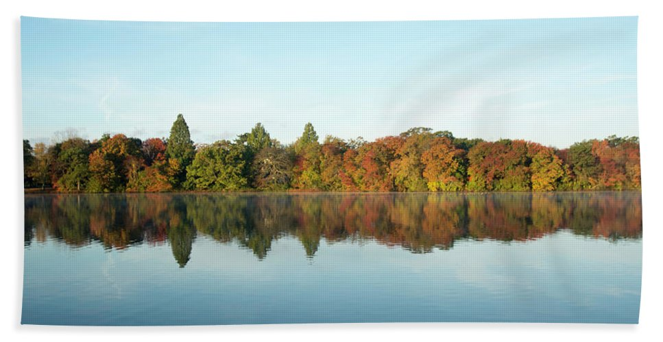 Belmont Lake State Park Hand Towel featuring the photograph Autumn Reflections At Belmont Lake by Joan D Squared Photography