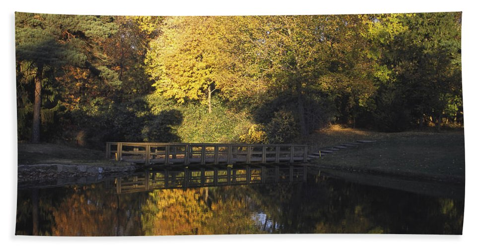 Autumn Scene Hand Towel featuring the photograph Autumn Reflections by Sally Weigand