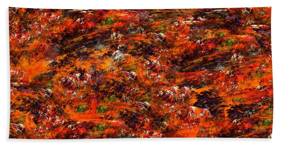 Abstract Digital Painting Hand Towel featuring the digital art Autumn Riot by David Lane