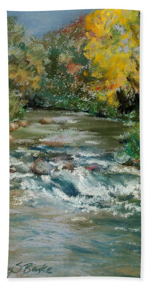 River Hand Towel featuring the painting Autumn Rush by Mary Benke