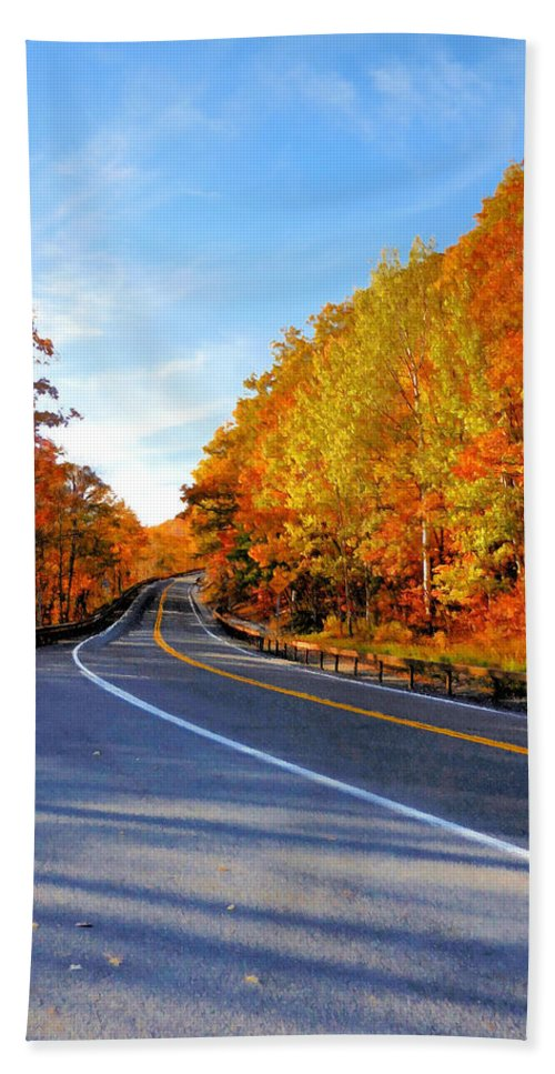 Autumn Scene With Road In Forest Hand Towel featuring the painting Autumn Scene With Road In Forest 2 by Jeelan Clark