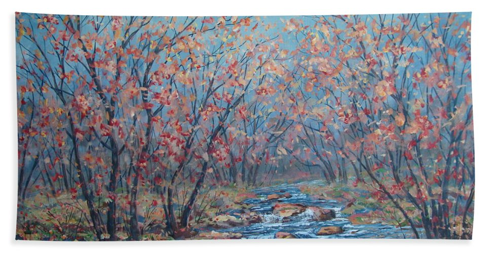Landscape Bath Towel featuring the painting Autumn Serenity by Leonard Holland