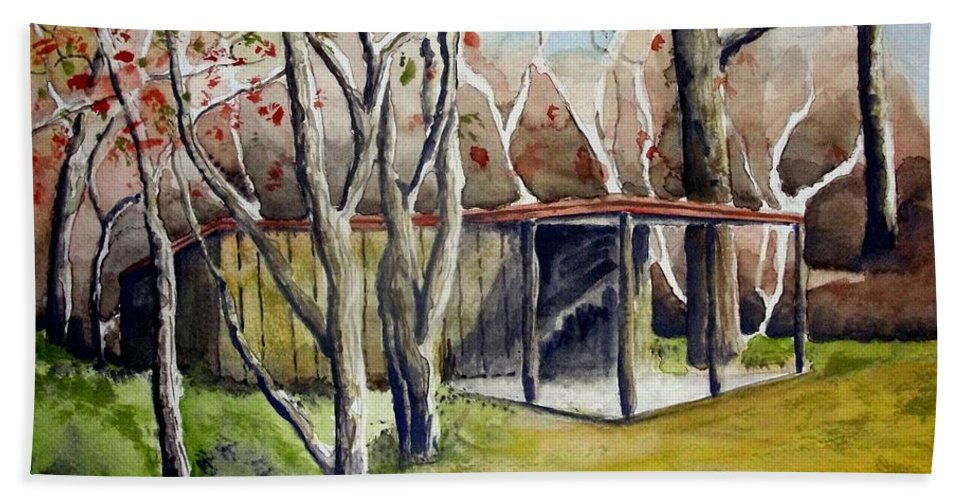 Autumn Bath Sheet featuring the painting Autumn Shed by Jimmy Smith