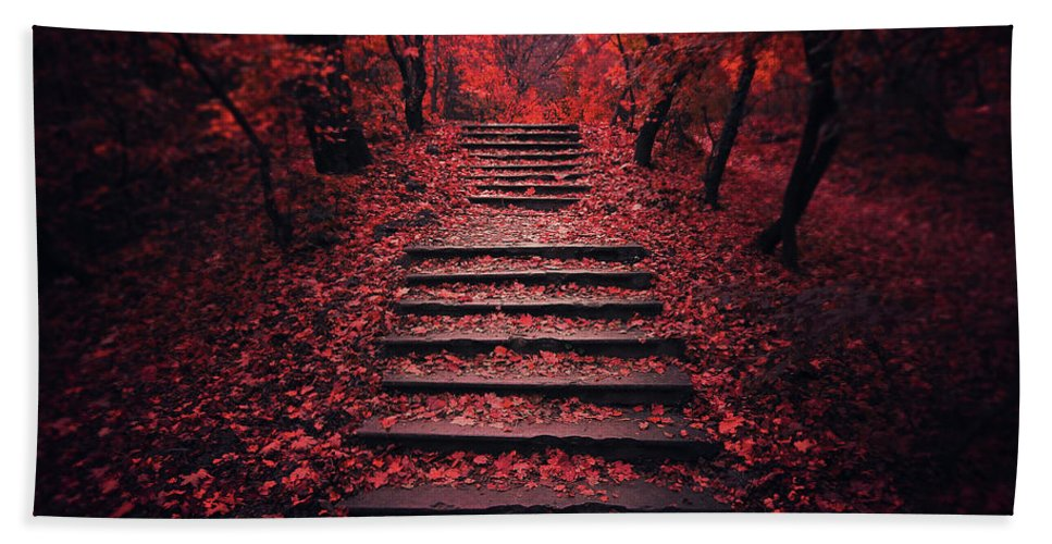 Autumn Bath Towel featuring the photograph Autumn Stairs by Zoltan Toth