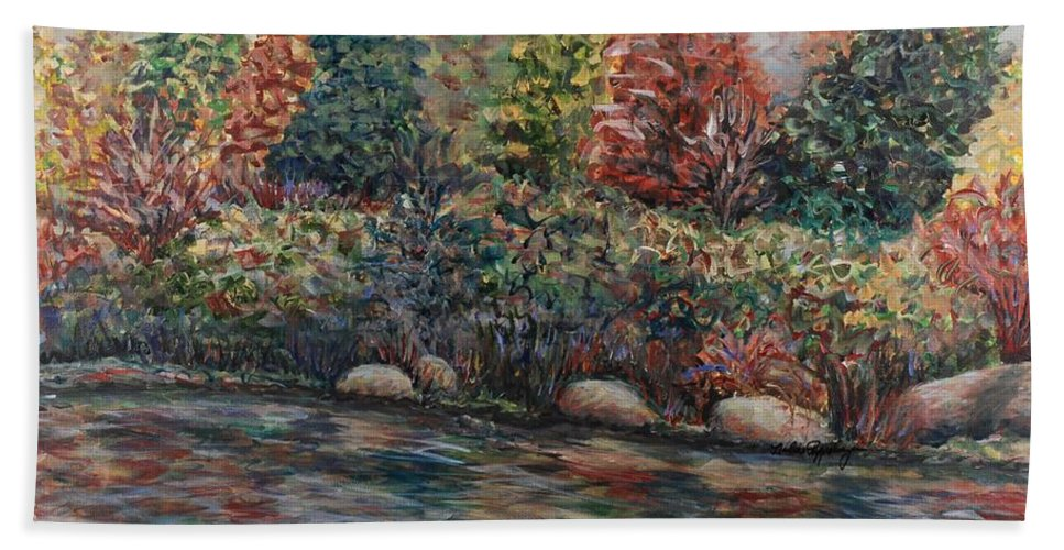 Autumn Hand Towel featuring the painting Autumn Stream by Nadine Rippelmeyer