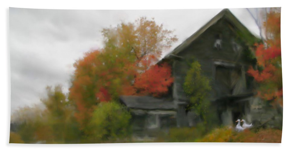 Nature Bath Sheet featuring the painting Autumn Stroll by Stephen Lucas