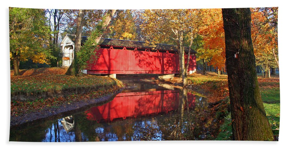 Covered Bridge Hand Towel featuring the photograph Autumn Sunrise Bridge II by Margie Wildblood