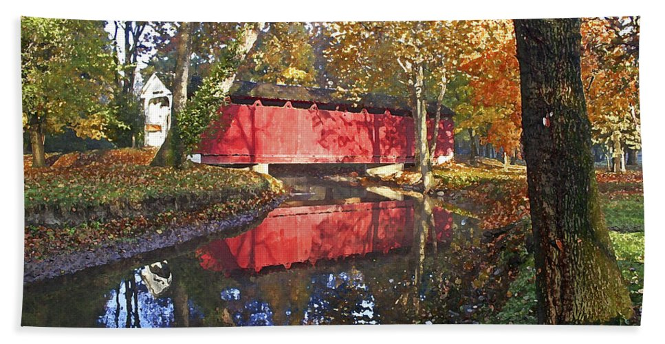 Covered Bridge Hand Towel featuring the photograph Autumn Sunrise Bridge by Margie Wildblood