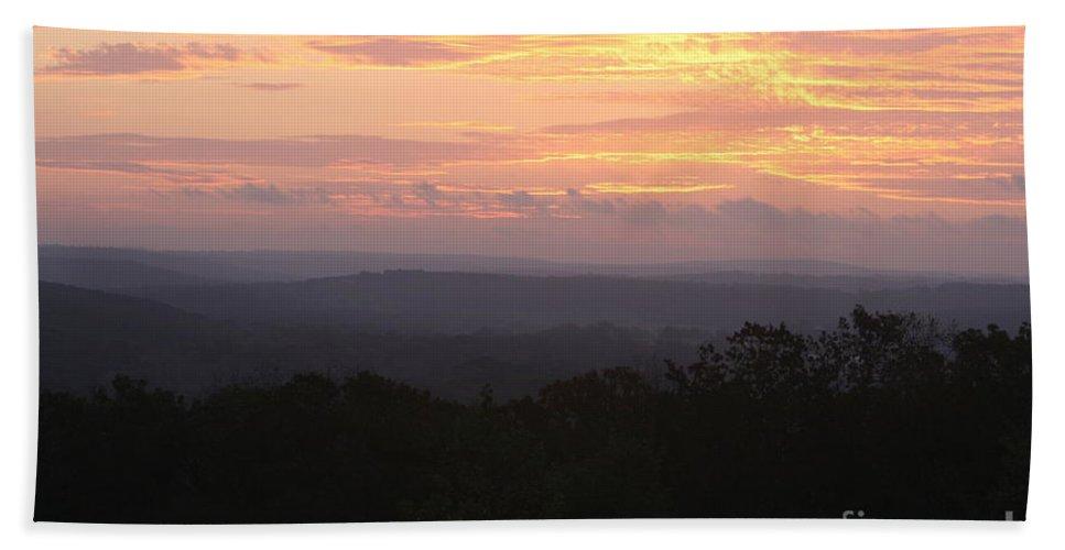 Sunrise Bath Sheet featuring the photograph Autumn Sunrise Over The Ozarks by Nadine Rippelmeyer