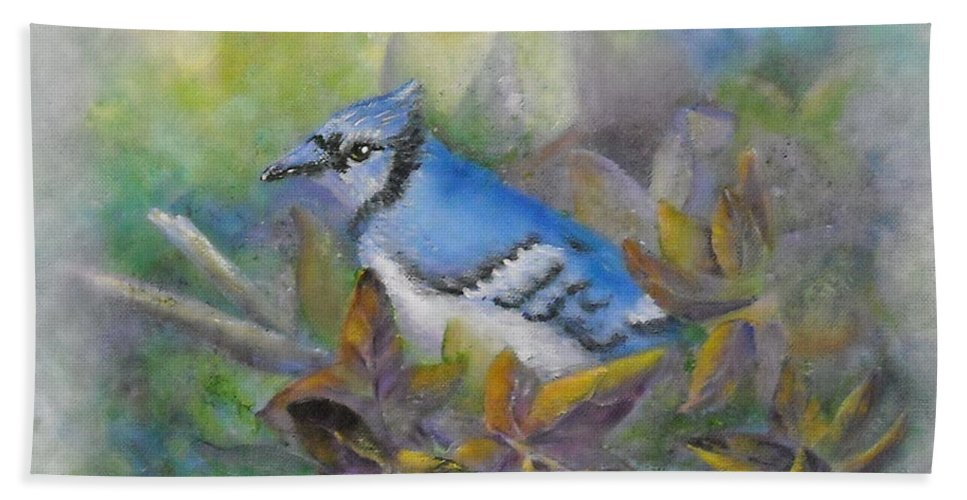 Autumn Bath Towel featuring the painting Autumn Sweet Gum With Blue Jay by Sheri Hubbard