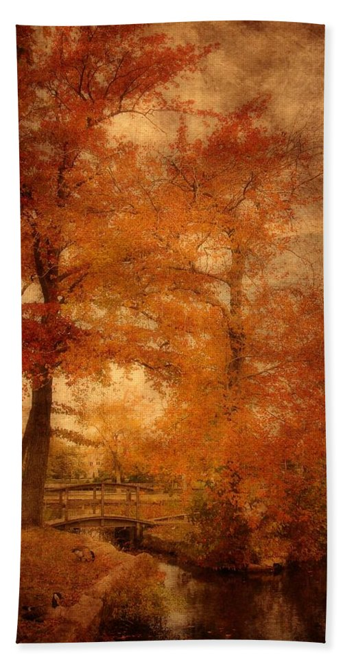Autumn Landscapes Hand Towel featuring the photograph Autumn Tapestry - Lake Carasaljo by Angie Tirado