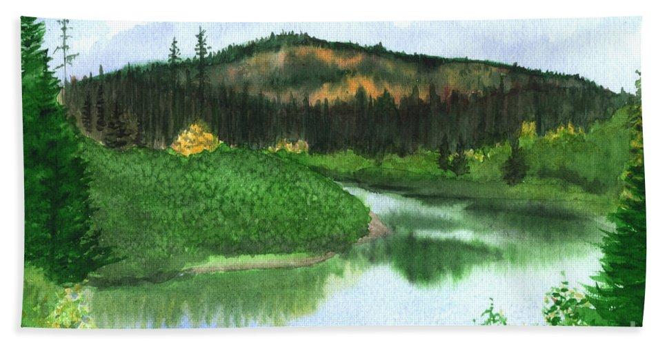 Autumn Bath Towel featuring the painting Autumn Transition by Lynn Quinn