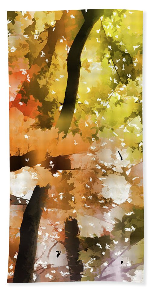 Autumn Trees In The Fog Bath Sheet featuring the painting Autumn Trees In The Fog by Jeelan Clark