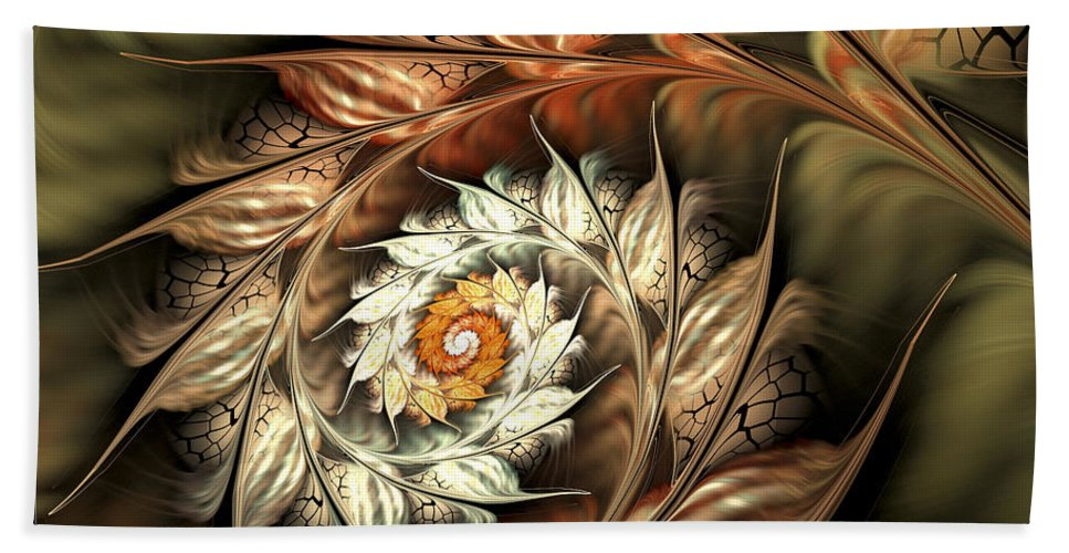 Fractal Hand Towel featuring the digital art Autumn Twist by Amorina Ashton