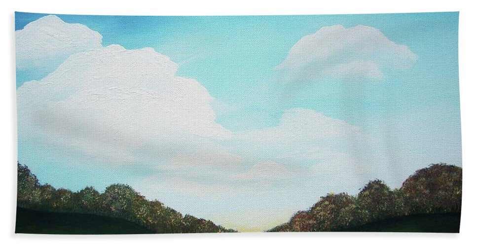 Landscape Bath Sheet featuring the painting Autumn Valley by Katie Slaby