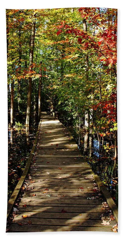 Boardwalk Hand Towel featuring the photograph Autumn Walk by Debbie Oppermann