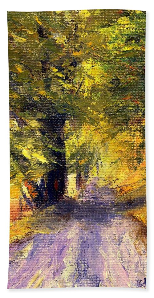 Autumn Bath Towel featuring the painting Autumn Walk by Gail Kirtz