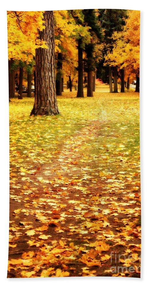 Autumn Hand Towel featuring the photograph Autumn Walk In Spokane by Carol Groenen