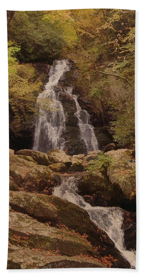 Autumn Waterfall In The Great Smoky Mountains Hand Towel featuring the photograph Autumn Waterfall In The Great Smoky Mountains by Dan Sproul