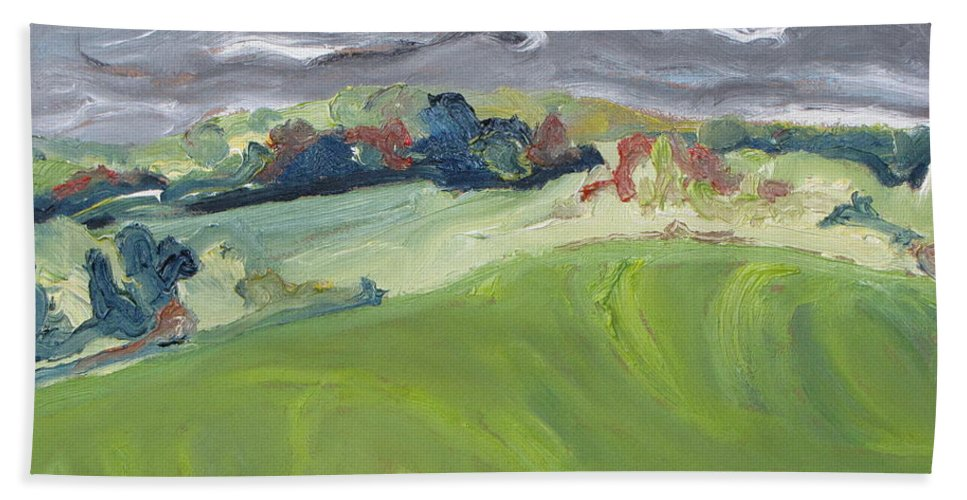 Autumn Hand Towel featuring the painting Autumn Wind by Francois Fournier
