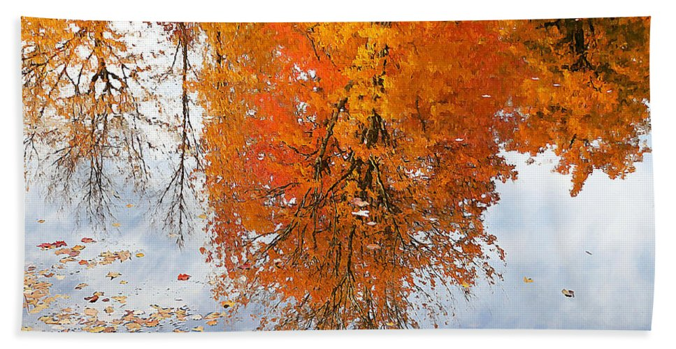 River Bath Sheet featuring the painting Autumn With Colorful Foliage And Water Reflection 19 by Jeelan Clark