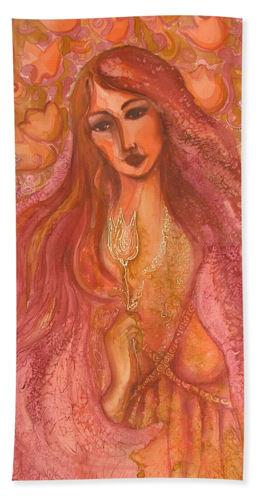 Silk Bath Towel featuring the painting Autumn With Gold Flower by Rita Fetisov