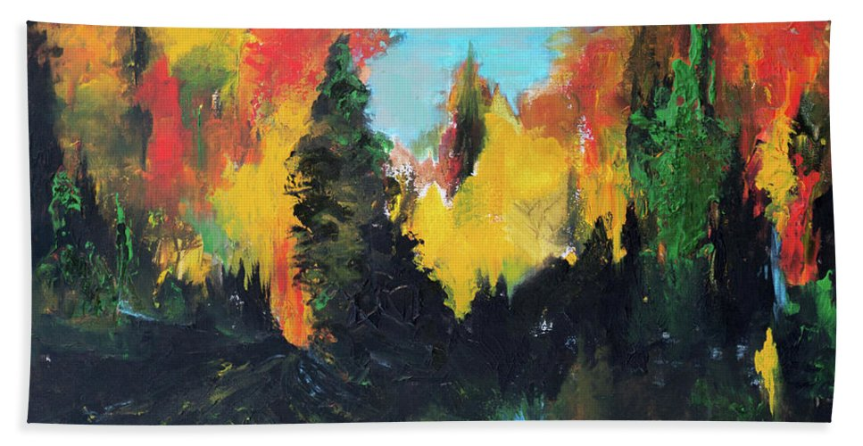Autumnal Hand Towel featuring the painting Autumnal Colors by Suzanne J Blinder