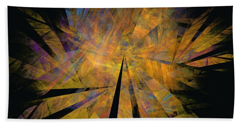 Abstract Expressionism Bath Towel featuring the digital art Autumnal by David Lane