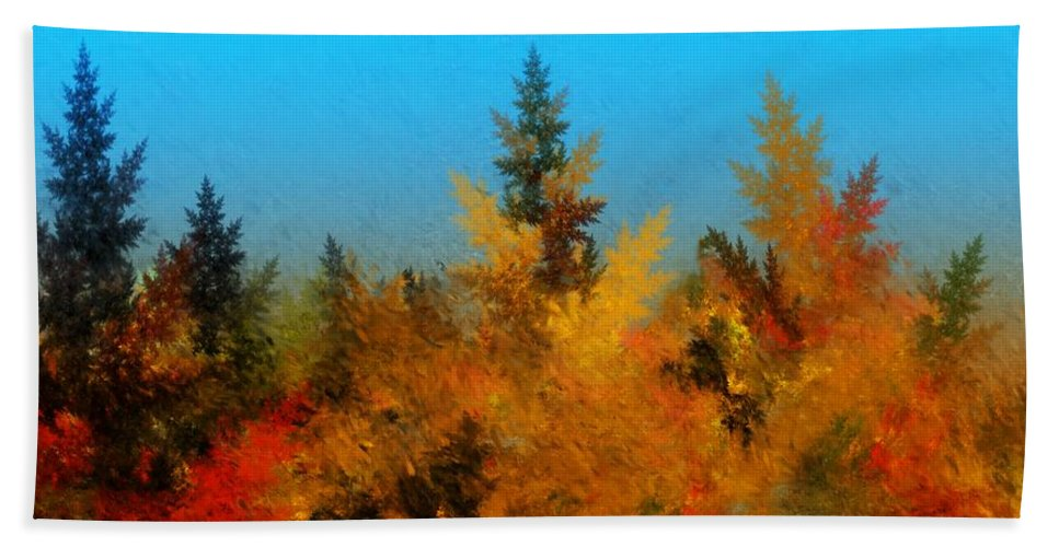 Abstract Digital Painting Bath Towel featuring the digital art Autumnal Forest by David Lane