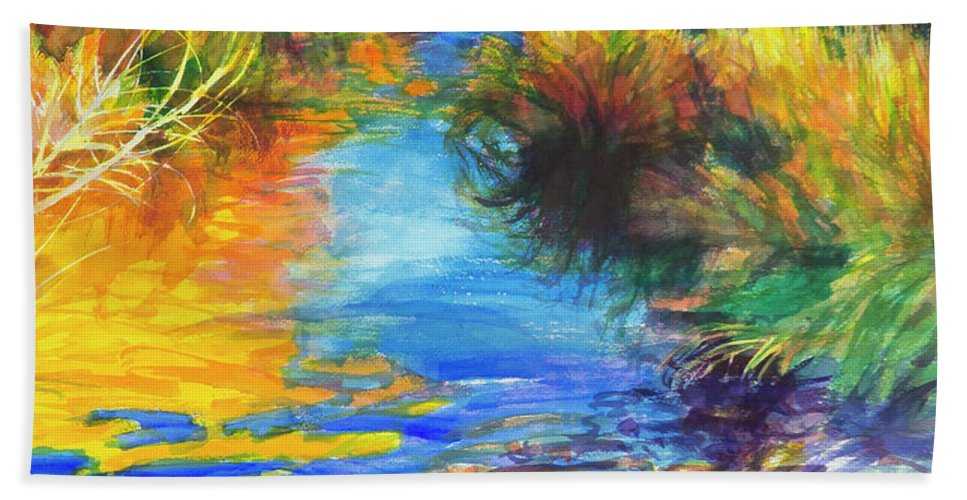 Autumn Hand Towel featuring the painting Autumnal Reflections by Steve Henderson