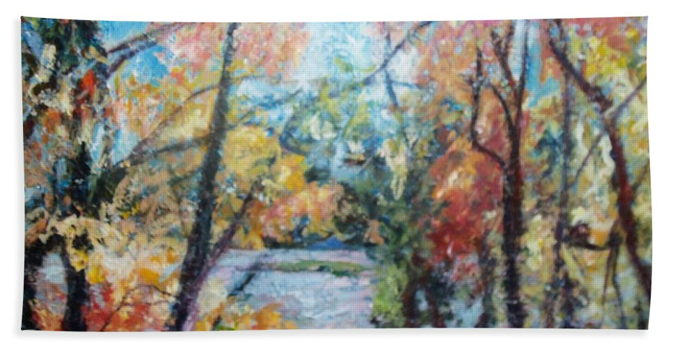 Landscape Hand Towel featuring the painting Autumn's Splendor by Sheila Holland