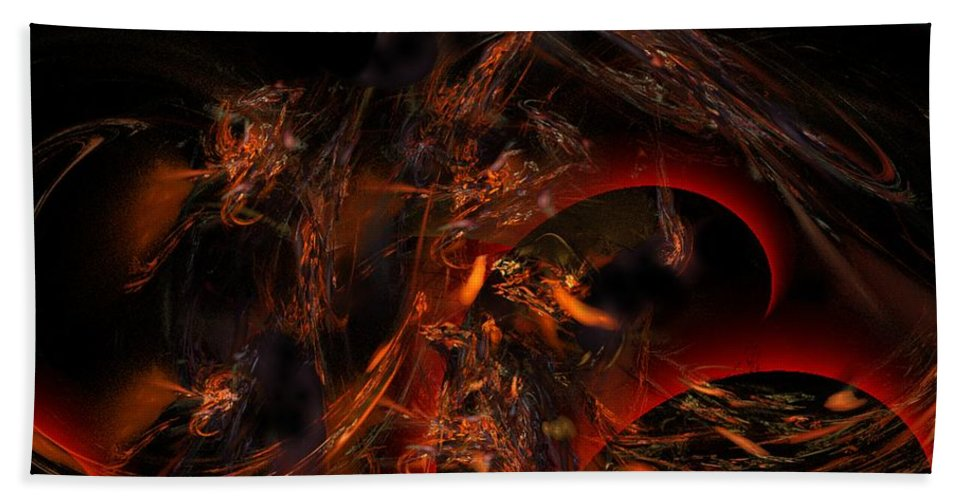 Abstract Digital Painting Bath Towel featuring the digital art Autums Winds 2 by David Lane