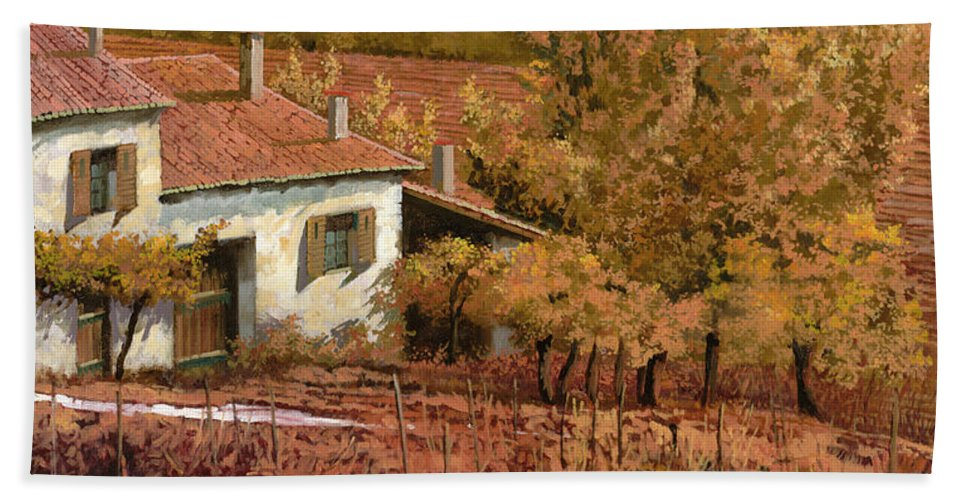 Autumn Hand Towel featuring the painting Autunno Rosso by Guido Borelli