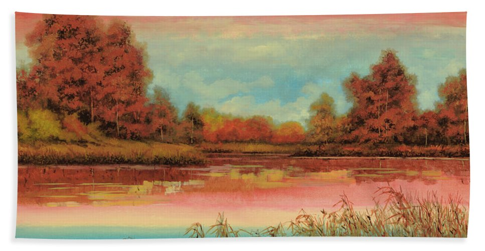 Fall Bath Towel featuring the painting Autunno Sul Lago by Guido Borelli