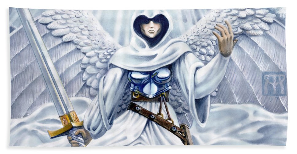 Angel Hand Towel featuring the painting Avenging Angel by Melissa A Benson