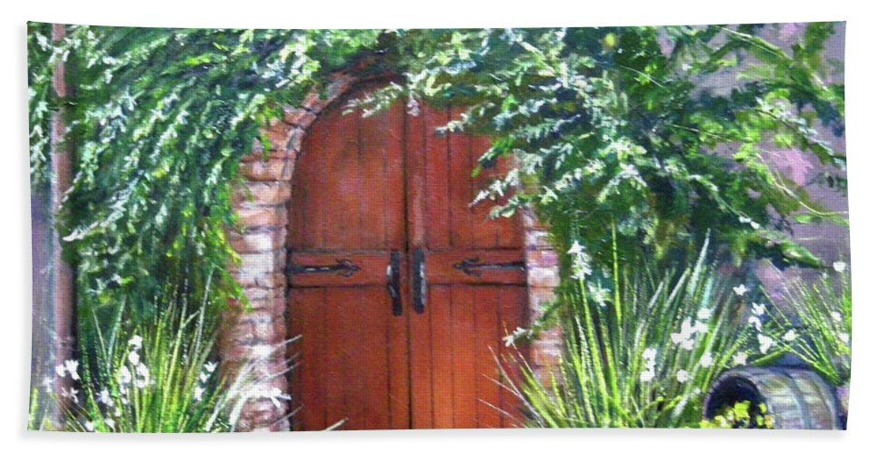 Door Curved Archway Hand Towel featuring the painting Avignon by Olga Kaczmar