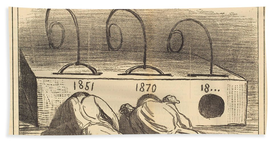 Hand Towel featuring the drawing Avis Aux Amateurs by Honor? Daumier