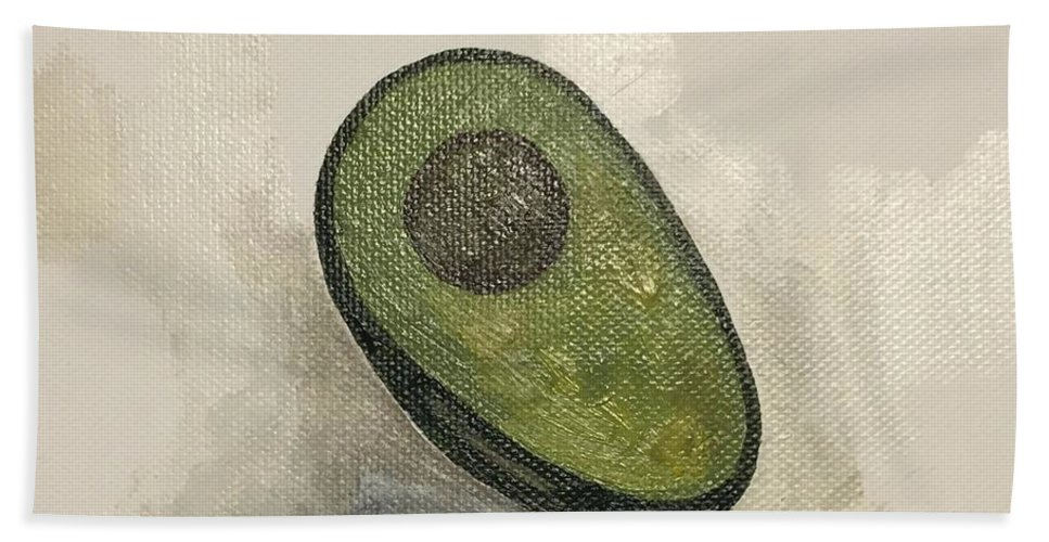 Avocado Bath Sheet featuring the painting Avocado by Sarah Jane Thompson
