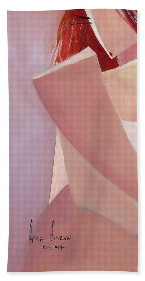 Nude Hand Towel featuring the painting Awaiting by Anri Laran